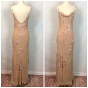 Sue Wong Nocturne Nude Creme Silk Beaded Dress 6